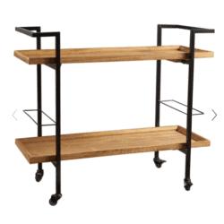 Industrial Natural Wood Bar Cart