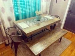 Rustic Reclaimed Barnwood Farmhouse Industrial Pipe Style Dining Room Table