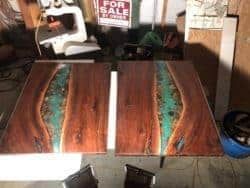 dining room furniture - Twin river table walnut with stone coffee dining table