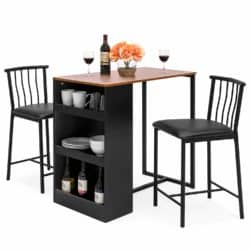 dining room furniture - Wooden Metal Kitchen Counter Height Dining Table Set w 2 Stools