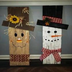 Pallet patio furniture-reversible Snowman Scarecrow Pallet decor (1)