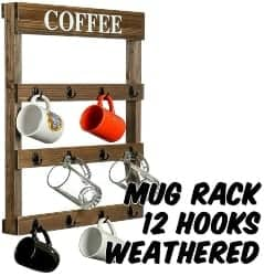 pallet furniture ideas - Markin Arts Rustic Distressed Torched Swedish Solid Pine Pallet Wood Wall Mount Coffee Beer Mug Hanger