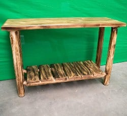 pallet furniture ideas - Midwest Log Furniture - Torched Cedar Log Sofa Table