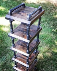 Rustic space saving high rise shoe rack