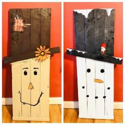 53. Reversible Snowman Scarecrow Pallet decor (1)