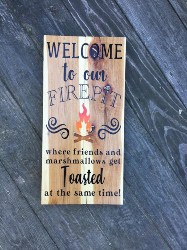 54. Welcome to Our Firepit Where Friends and Marshmallows Get Toasted Hanging Pallet Wood Sign (1)