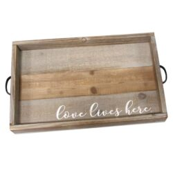Distressed Love Lives Here Wood Serving Tray