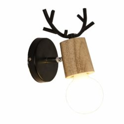 Antlers Vintage Wooden Wall Lamps