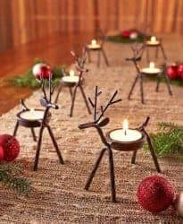 christmas decoration - Reindeer Tealight Candle Holders Metal