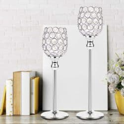 christmas decoration - Silver Crystal Candle Holders Set of 2