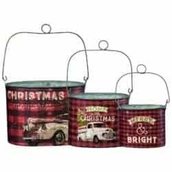outdoor christmas decoration - 3Pc Tin Bucket Set