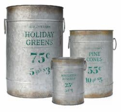 outdoor christmas decoration - Galvanized Cans with Holiday Pine Motiff