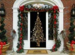 outdoor christmas decoration - Golden Christmas Tree Door Decor
