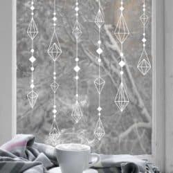 Hanging Diamond Bauble Window Decal Panel