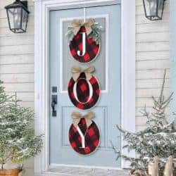 outdoor christmas decoration - Rustic Burlap Wooden Holiday Decor