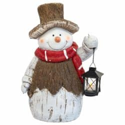 outdoor christmas decoration - Snowman Door Greeter with LED Tea Light Lantern