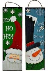 outdoor christmas decoration - Snowman and Santa Wooden Sign