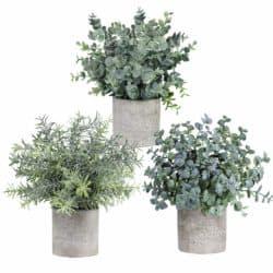 farmhouse christmas decor - 3 Mini Potted Artificial Plants