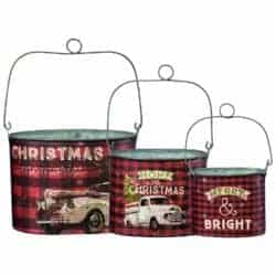 farmhouse christmas decor - 3-Piece Tin Bucket Set