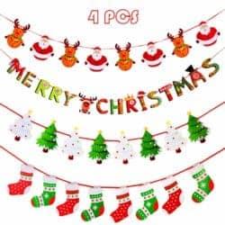 farmhouse christmas decor - 4 Pieces Christmas Banners
