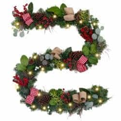 farmhouse christmas decor - Christmas Garland with Ball Ornaments