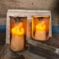 farmhouse christmas decor - Flameless LED Snowman