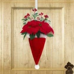 farmhouse christmas decor - Santa Hat Wreath
