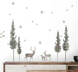 farmhouse christmas decor - Stag Forest Wall Decal Set