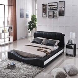 Best Modern Furniture Ideas - Bonded Leather Contemporary Platform Bed (1)