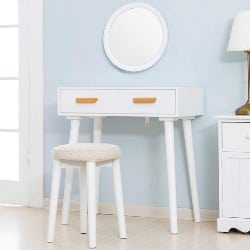 Modern Bedroom Furniture - Vanity Table with Round Mirror (1)
