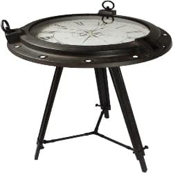 Modern Unique Furniture - Urban Designs Industrial Porthole Metal Round Clock Coffee & End Table (1)
