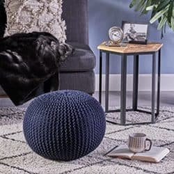best minimalist furniture - Christopher Knight knitted cotton pouf