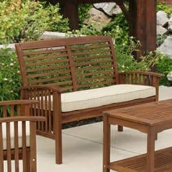 best traditional furniture - Walker Edison Wood Outdoor Patio Ladder Back Loveseat