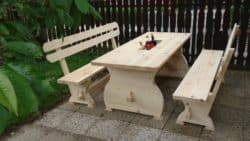 best traditional furniture - Wooden Table & Bench with cooler