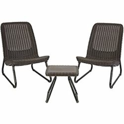 cheap furniture - 3 Piece Resin Wicker Furniture Set with Patio Table and Outdoor Chairs