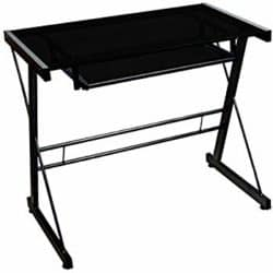 cheap furniture - Black Tempered Glass Computer Desk with Pull-Out Keyboard Tray