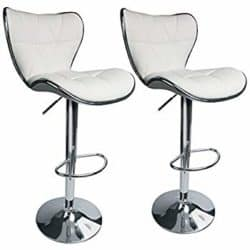 cheap furniture - Masaccio Cushioned White Leatherette Upholstery Airlift Swivel Barstool