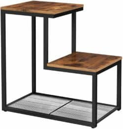 cheap furniture - Small End Table with 2 Surfaces Arranged in Steps and Mesh Shelf