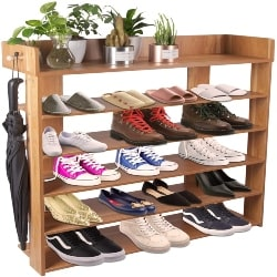 family room furniture - H&A 6 Tiers Natural Wood Shoe Rack