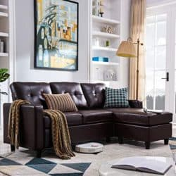 family room furniture - HONBAY Convertible Sectional Leather Sofa