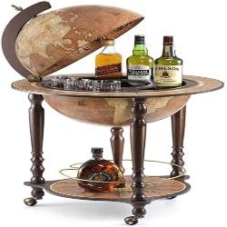 family room furniture - Wood Globe Wine Bar Stand