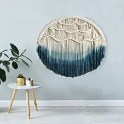 Cheap Bohemain Furniture Ideas - 19.7in Seagrass Fiber Round Wall Art Blue&White - Opalhouse™