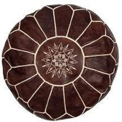 Cheap Bohemain Furniture Ideas - Leather pouffe - natural (1)
