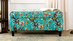 Cheap Bohemian Furniture Ideas - Bohemian Style Cotton Upholstered Hand Tufted Storage Accent Entryway Bench With Floral Bird Print, Turquoise
