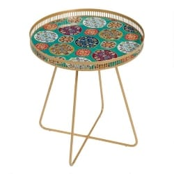 Cheap Bohemian Furniture Ideas - Large Round Gold Metal Floral Tray Table (1)