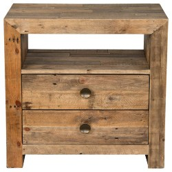 Cheap Bohemian Furniture Ideas - Norman Reclaimed Pine 2 Drawer Nightstand Distressed Natural by Kosas Home (1)