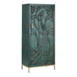 Cheap Bohemian Furniture Ideas - Teal Carved Wood Peacock Storage Cabinet (1)