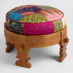 Cheap Bohemian Furnoture Ideas - Bajot Stool With Sari Pouf (1)
