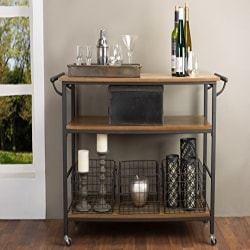 Cheap Kitchen Furniture Ideas - Baxton Studio Lancashire Wood and Metal Kitchen Cart (1)