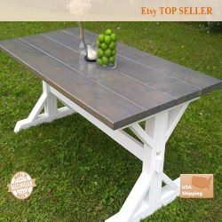 Cheap Traditional Furniture Ideas - Gray Farm House Table (1)
